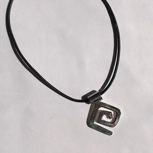 Jewelry - Sterling Silver Geometric Pendant on Black Cord